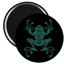 Intricate Teal Blue and Black Tribal Tree Frog Mag
