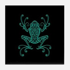 Intricate Teal Blue and Black Tribal Tree Frog Til