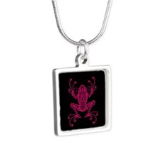 Intricate Pink and Black Tribal Tree Frog Necklace