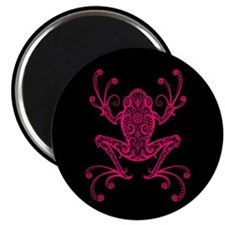 Intricate Pink and Black Tribal Tree Frog Magnets