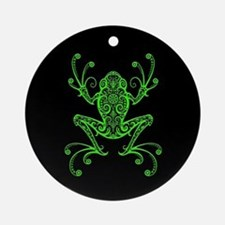 Intricate Green and Black Tribal Tree Frog Ornamen