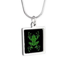 Intricate Green and Black Tribal Tree Frog Necklac