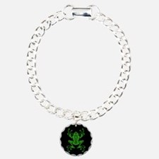 Intricate Green and Black Tribal Tree Frog Bracelet