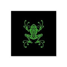 Intricate Green and Black Tribal Tree Frog Sticker