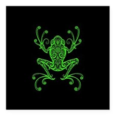 Intricate Green and Black Tribal Tree Frog Square