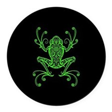 Intricate Green and Black Tribal Tree Frog Round C