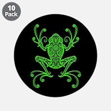 "Intricate Green and Black Tribal Tree Frog 3.5"" Bu"