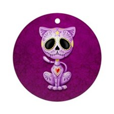 Purple Zombie Sugar Skull Kitten Ornament (Round)