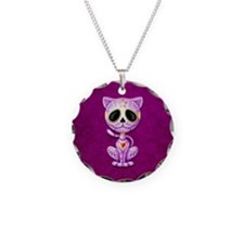 Purple Zombie Sugar Skull Kitten Necklace