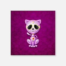 Purple Zombie Sugar Skull Kitten Sticker