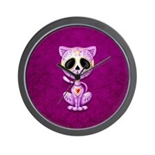 Purple Zombie Sugar Skull Kitten Wall Clock