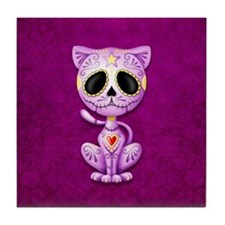 Purple Zombie Sugar Skull Kitten Tile Coaster