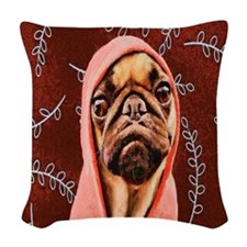 Hood Pug Woven Throw Pillow