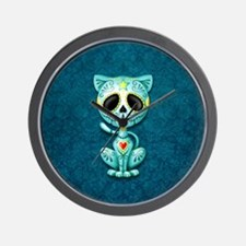 Blue Zombie Sugar Skull Kitten Wall Clock