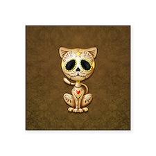 Brown Zombie Sugar Skull Kitten Sticker