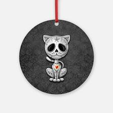 Gray Zombie Sugar Skull Kitten Ornament (Round)