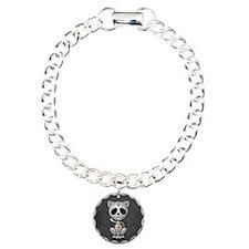 Gray Zombie Sugar Skull Kitten Bracelet