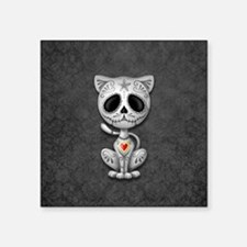 Gray Zombie Sugar Skull Kitten Sticker