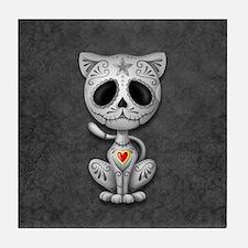 Gray Zombie Sugar Skull Kitten Tile Coaster