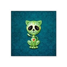 Green and Blue Zombie Sugar Skull Kitten Sticker