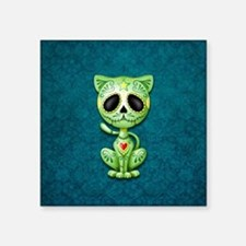 Green and Blue Zombie Sugar Skull Kitten Sticker