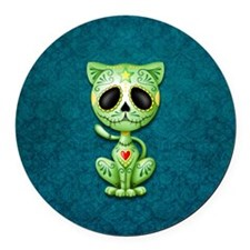 Green and Blue Zombie Sugar Skull Kitten Round Car
