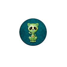 Green and Blue Zombie Sugar Skull Kitten Mini Butt