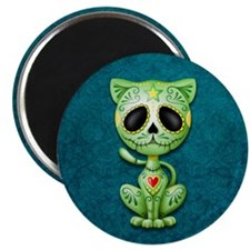 Green and Blue Zombie Sugar Skull Kitten Magnets