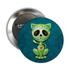 """Green and Blue Zombie Sugar Skull Kitten 2.25"""" But"""