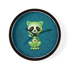 Green and Blue Zombie Sugar Skull Kitten Wall Cloc