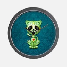 Green and Blue Zombie Sugar Skull Kitten Wall Cloc