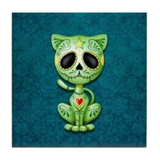 Green and Blue Zombie Sugar Skull Kitten Tile Coas