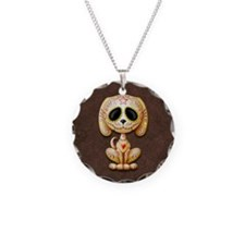 Brown Zombie Sugar Skull Puppy Necklace Circle Cha
