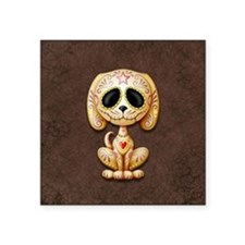 Brown Zombie Sugar Skull Puppy Sticker