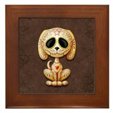 Brown Zombie Sugar Skull Puppy Framed Tile