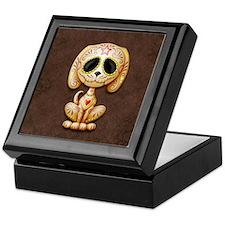 Brown Zombie Sugar Skull Puppy Keepsake Box
