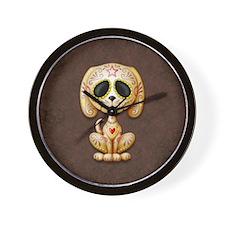 Brown Zombie Sugar Skull Puppy Wall Clock