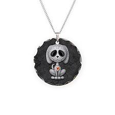Gray Zombie Sugar Skull Puppy Necklace