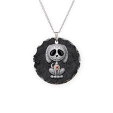 Gray Zombie Sugar Skull Puppy Necklace Circle Char