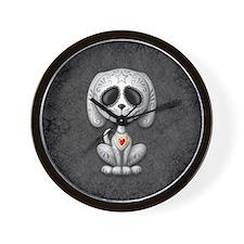 Gray Zombie Sugar Skull Puppy Wall Clock