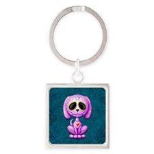 Purple and Blue Zombie Sugar Skull Puppy Keychains
