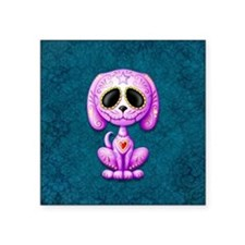 Purple and Blue Zombie Sugar Skull Puppy Sticker