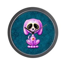 Purple and Blue Zombie Sugar Skull Puppy Wall Cloc