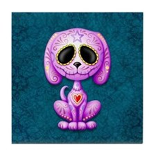 Purple and Blue Zombie Sugar Skull Puppy Tile Coas