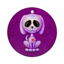 Purple Zombie Sugar Skull Puppy Ornament (Round)