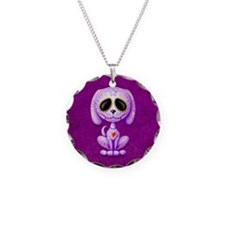 Purple Zombie Sugar Skull Puppy Necklace Circle Ch