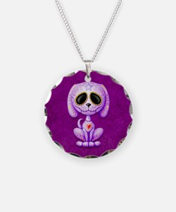 Purple Zombie Sugar Skull Puppy Necklace Circle Ch