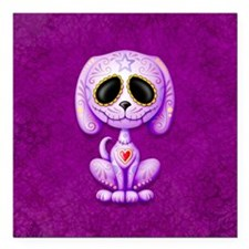 Purple Zombie Sugar Skull Puppy Square Car Magnet