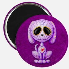 Purple Zombie Sugar Skull Puppy Magnets