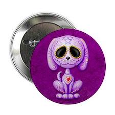 """Purple Zombie Sugar Skull Puppy 2.25"""" Button"""